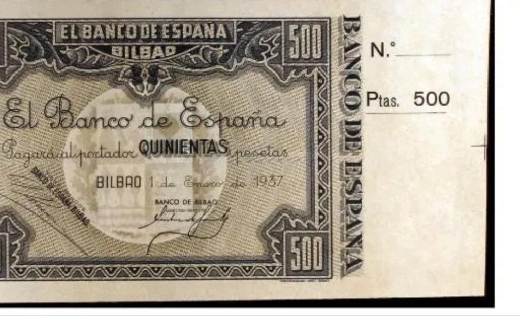 Diferentes antefirmas Billetes del Banco de España en Bilbao (1937) 500_pe10