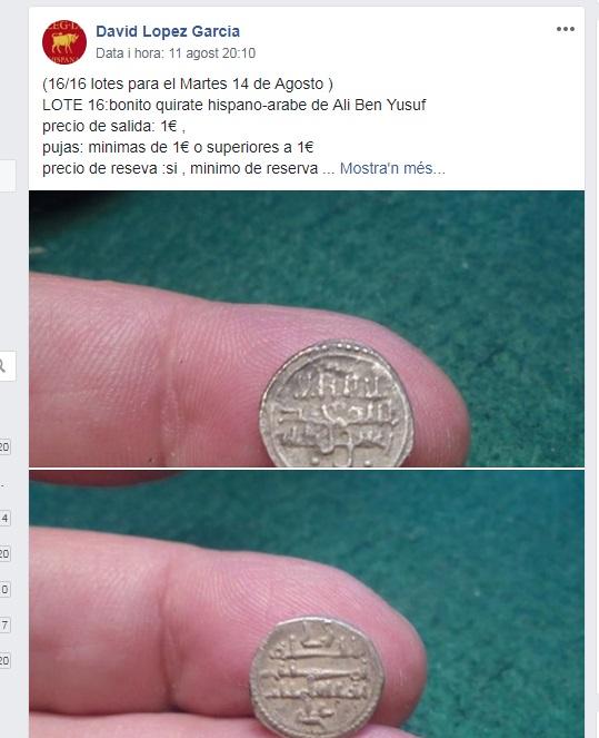 Moneda árabe en subasta en Facebook Arabe10