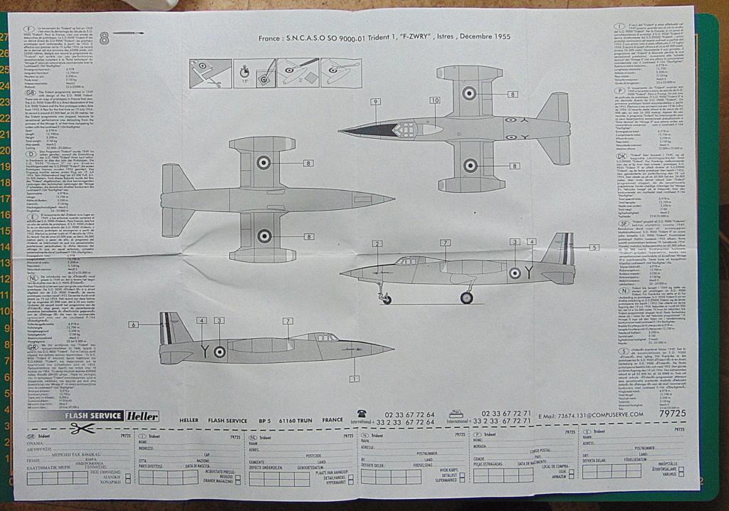 Montage chrono [HELLER Rapid Kit] SNCASO SO 9000 TRIDENT 1/100ème Réf 79725 Plan_d10