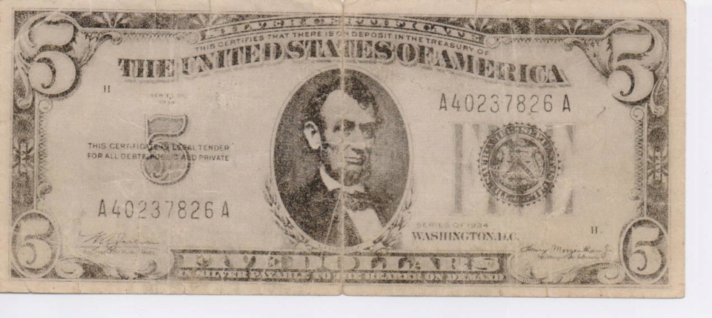 EE.UU. 5 dolares Abraham Lincoln  ayuda. 00118