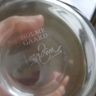 Help identifying Holmegaard clear vase with mystery signature? 20190210