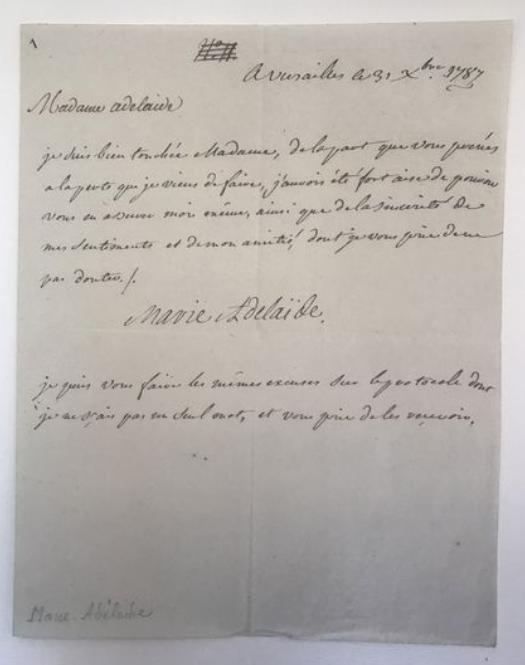 Lettre de Madame Adélaïde à l'occasion du décès de Madame Louise Zzzz211