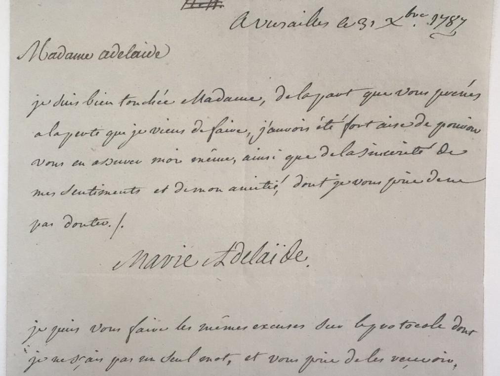Lettre de Madame Adélaïde à l'occasion du décès de Madame Louise Zzzz212