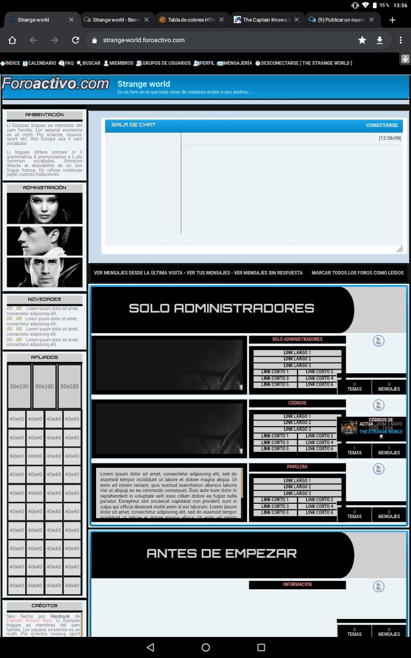Necesito saber si se puede poner un tablón de anuncios en un foro que no tiene. Screen14