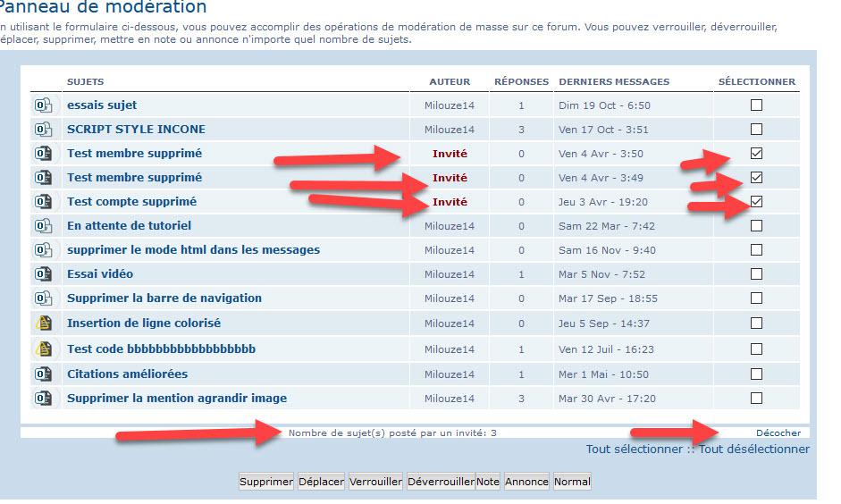 """[PHPBB3]Afficher le Pseudo dans l'outil de modération """"Modérer ce forum"""" 160"""