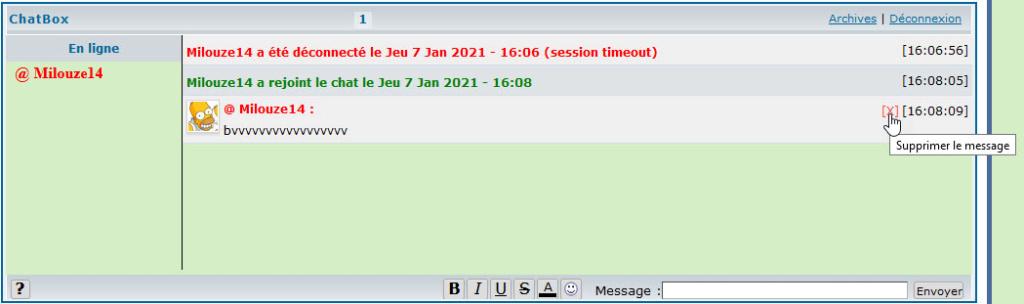 Problèmes avec la fonctionnalité de suppression des messages 326