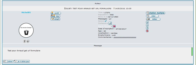 [PHPBB2] Afficher la partie profil au dessus du message Membre12