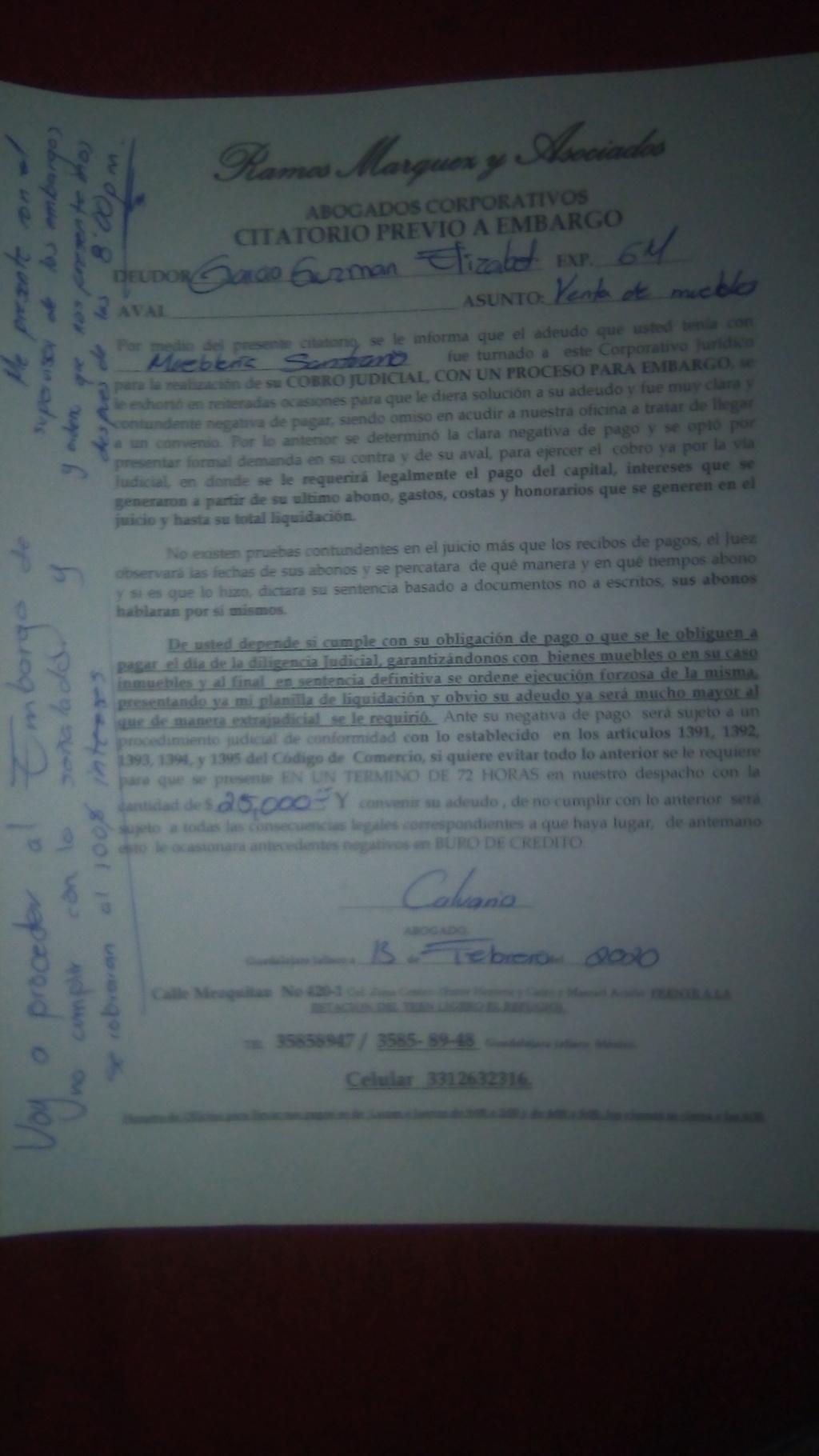 NOTIFICACIÓN DE EMBARGO MUEBLERÍA SANTUARIO Img_2010