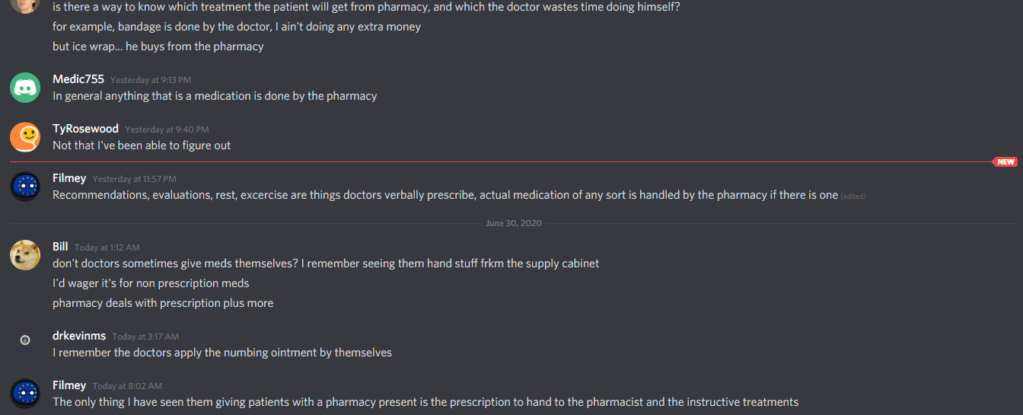 [FEATURE REQUEST] Make it clear in the UI which treatment will the doctor do himself for the patient, and which has to be purchased from the pharmacy Fix_tr10