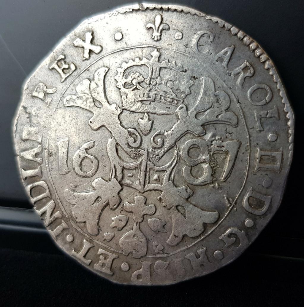 Carlos II. 1 patagón de 1687 de Brujas con los dos I del ordinal unidos 20201125