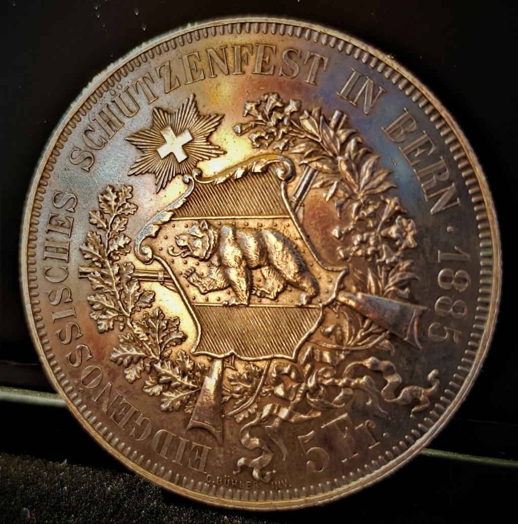 5 Francos Suizos de 1885 del Festival de Tiro de Berna 20210544