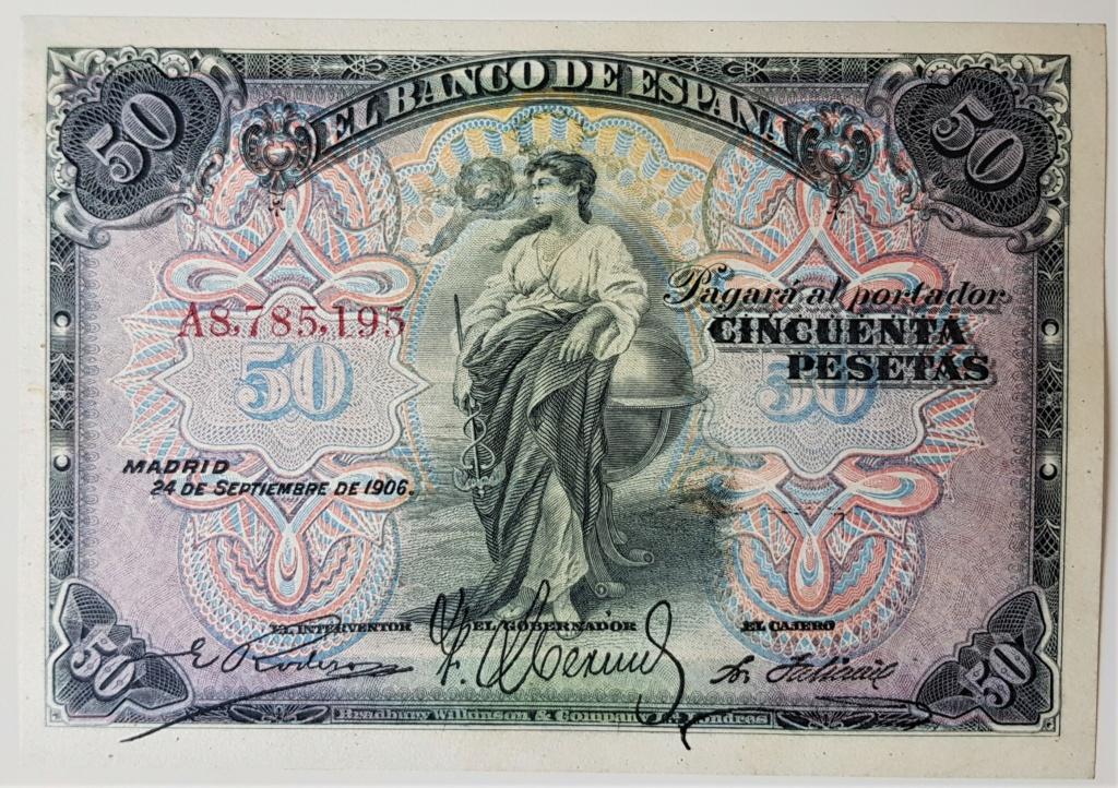 50 pesetas del 24 de septiembre de 1906.Serie A 20210633