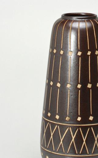 Tall Brown Cylinder Grid Pattern Ceramic Vase (something or nothing?) Anton-10