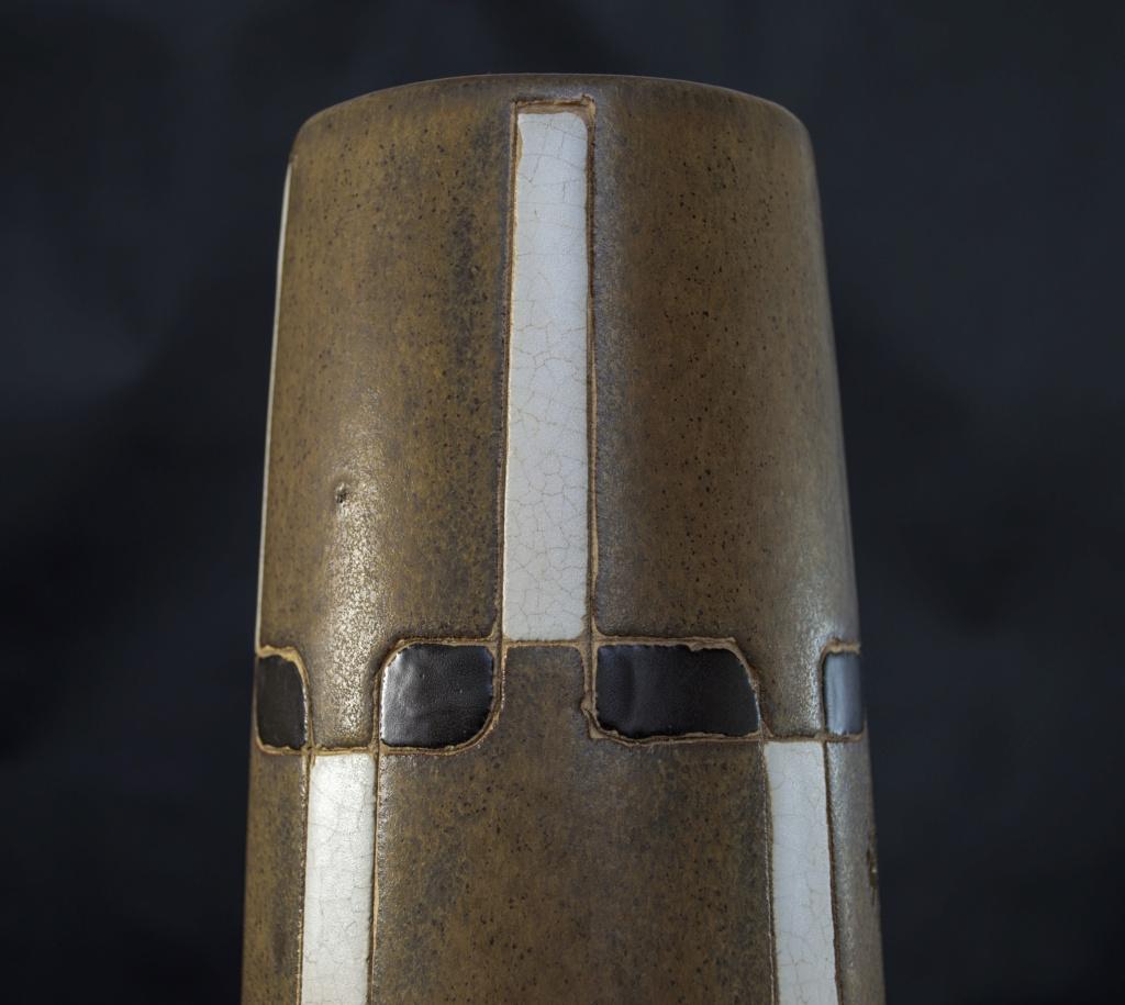 Tall Brown Cylinder Grid Pattern Ceramic Vase (something or nothing?) Dsc_0012