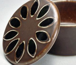 Tall Brown Cylinder Grid Pattern Ceramic Vase (something or nothing?) Herta-10