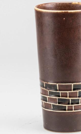 Tall Brown Cylinder Grid Pattern Ceramic Vase (something or nothing?) Herta-11
