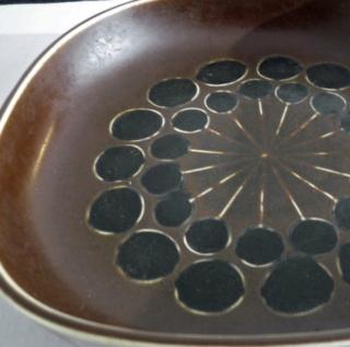 Tall Brown Cylinder Grid Pattern Ceramic Vase (something or nothing?) Herta-12