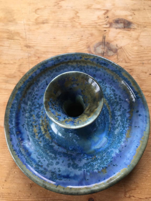 Newbie here! Blue glazed signed ceramic candlestick Dd1cee10