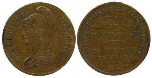 Essai en étain plaqué bronze 2 francs 1848. Jeton310