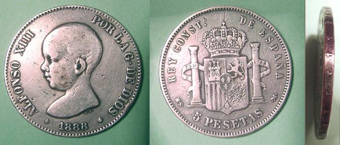 5 pesetas de Alfonso XIII (Madrid, 1888 d.C) 5ptspe10