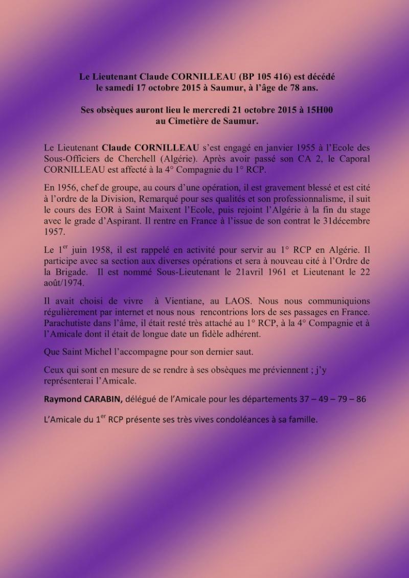 Le  Lieutenant Claude CORNILLEAU (BP 105 416) est décédé le samedi 17 octobre 2015 à  Saumur , à l ' âge de 78 ans . 1er_rc10