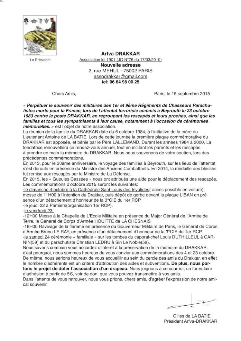 Arfva-DRAKKAR Perpétuer le souvenir des militaires des1er et 9ème Régiment de Chasseurs Parachutistes morts pour la France lors de l'attentat terroriste à Beyrouth le 23 octobre 1983 contre le poste DRAKKAR Associ10