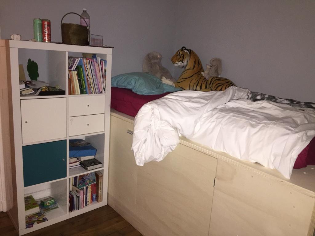 Un lit sur estrade, un bureau et une étagère Img_2322