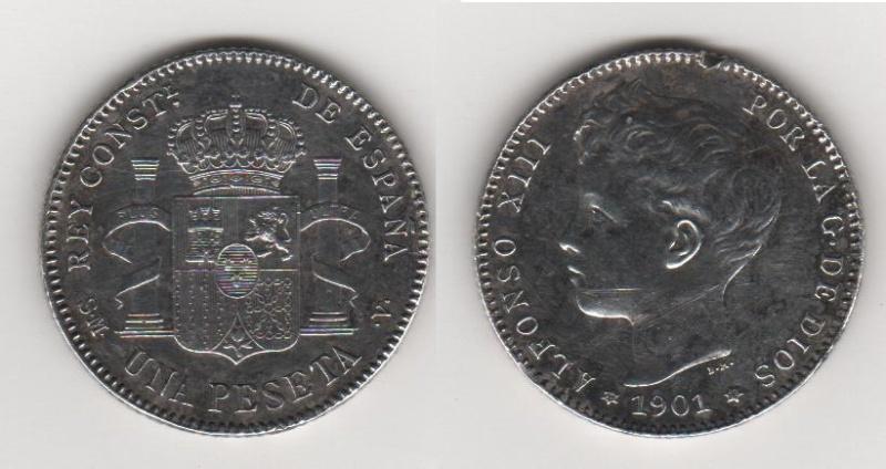 1 Peseta de Alfonso XII (Madrid, 1901 d.C) Variante Peseta10