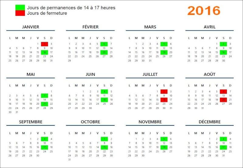 Calendrier des permanences pour 2016 Calend10