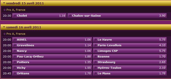 Pronostics 26ème journée de Pro A : Orléans Le Mans - Cholet Chalon - Pau Orthez Roanne 26ame_10