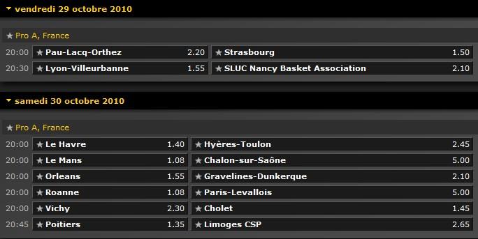 Pronostics Basket Pro A 4ème journée : Villeurbanne Nancy - Poitiers Limoges - Le Mans Chalon... 4ame_j10