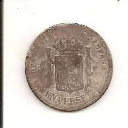 1 Peseta de Alfonso XII (Madrid, 1901 d.C) Variante Escane39