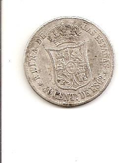 40 cts. escudo de Isabel ll (Madrid, 1865 d.C) Escane44