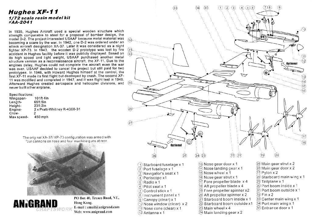 Hughes XF-11 (1/72, Anigrand) Hugues14