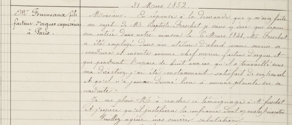 Dans les lettres de la maison Cavaillé-Coll Fourne11