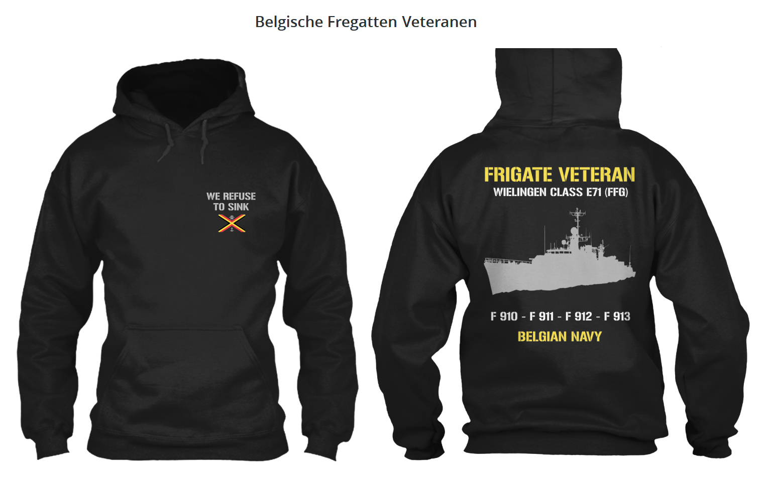 "Sweatshirt ""Belgian Frigate Veteran"" ! Belgis10"