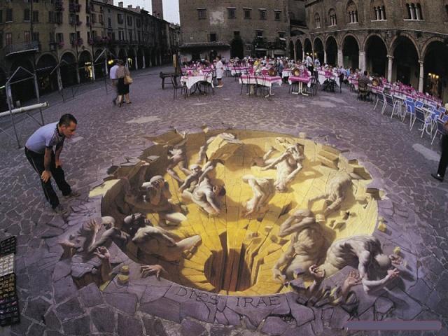 Dessins 3D sur le sol, Julian Beever Trompe12