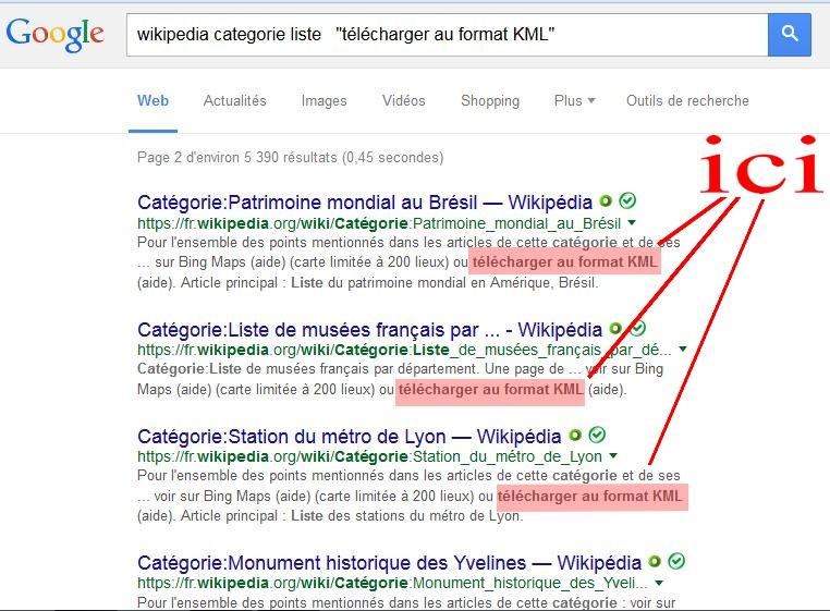 KML de Wikipedia : Listes et Catégories Captur12