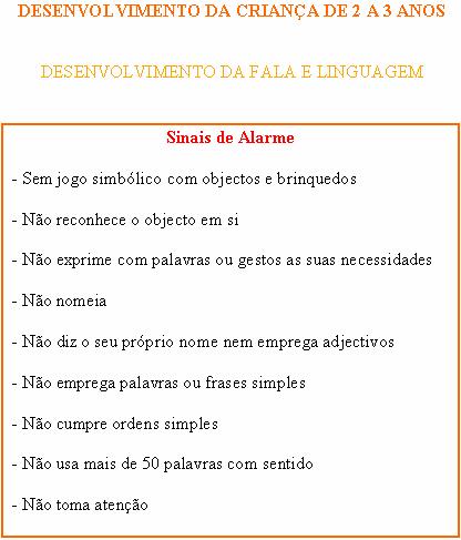 CRIANÇA DE 2 A 3 ANOS - FALA E LINGUAGEM - SINAIS DE ALARME Sinais13