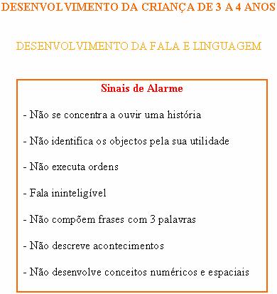 CRIANÇA DE 3 A 4 ANOS - FALA E LINGUAGEM - SINAIS DE ALARME Sinais14
