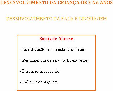 CRIANÇA DE 5 A 6 ANOS - FALA E LINGUAGEM - SINAIS DE ALARME Sinais17