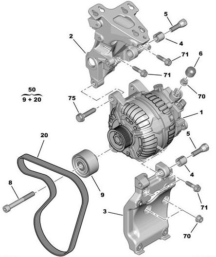 [ Citroen c4 hdi 110 an 2007 ] démontage alternateur et compresseur de climatisation Altern10