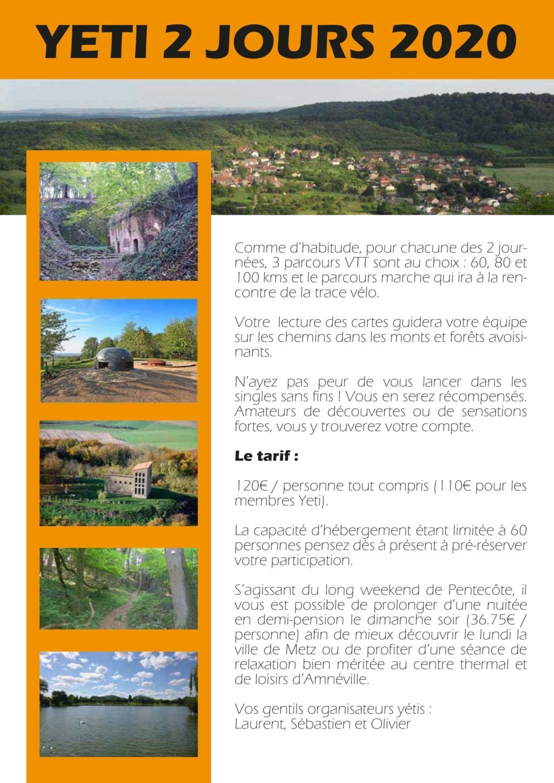 yéti2jours 2020 le 30 et 31 mai à Vigy Nord de Metz Flyer_13