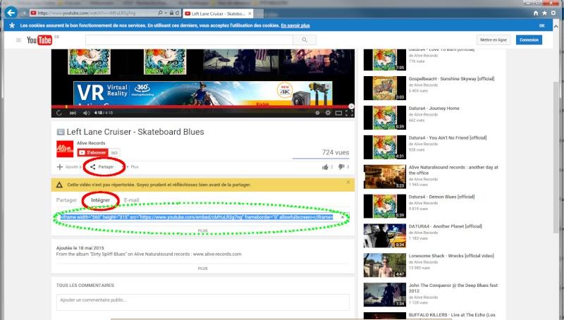 Intégration d'une vidéo Youtube dans un format Non Privateur B) Tutoin11