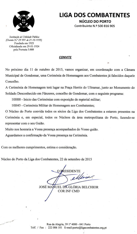11Out2015 - Cerimónia de Homenagem aos Combatentes de Gondomar já falecidos  Convit10