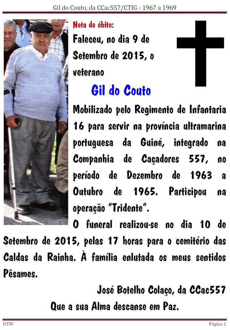 Faleceu o veterano Gil do Couto, da CCac557/CTIG Gildoc10