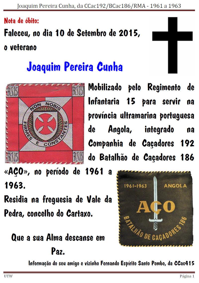 Faleceu o veterano Joaquim Pereira Cunha, da CCac192/BCac186/RMA - 10Set2015 Joaqui10