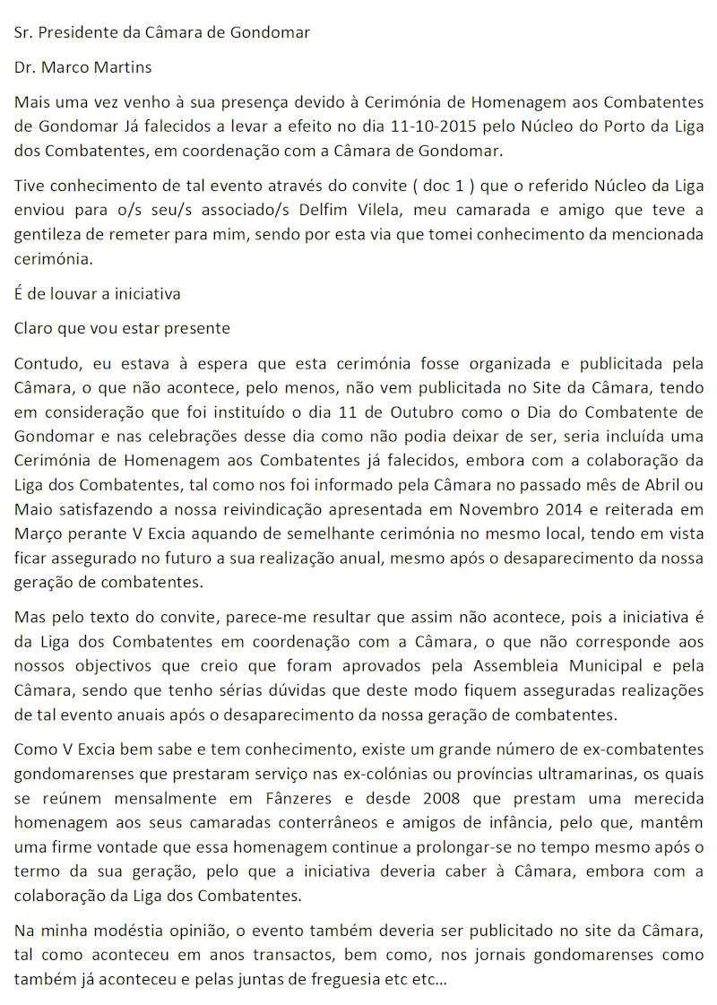 11Out2015 - Cerimónia de Homenagem aos Combatentes de Gondomar já falecidos  Zcarta10