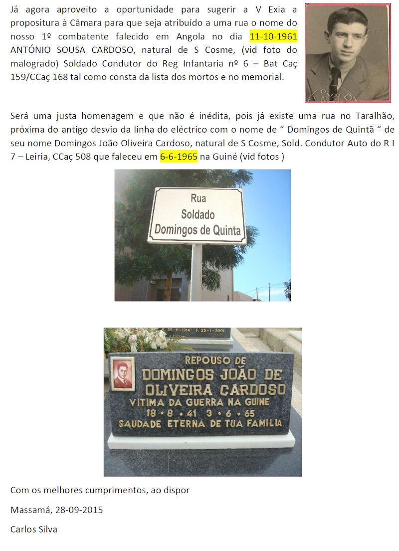 11Out2015 - Cerimónia de Homenagem aos Combatentes de Gondomar já falecidos  Zcarta11