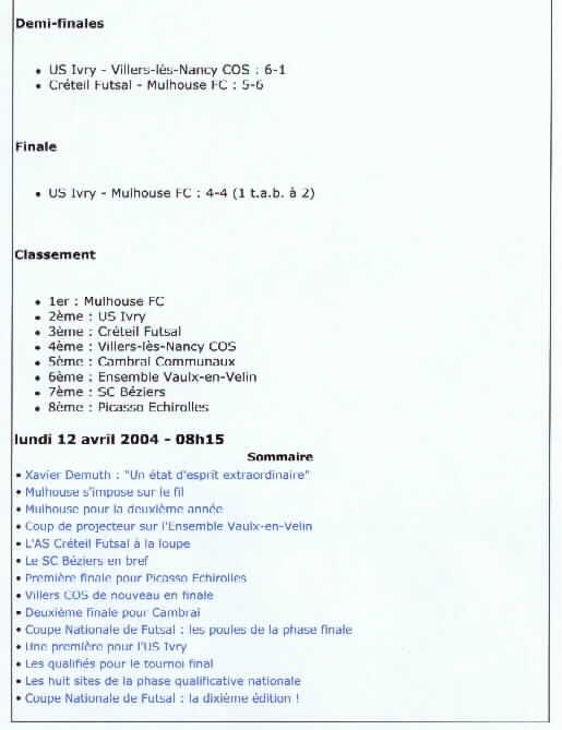 [Futsal] Le FCMII champion de France en 2003-04 Futsal13